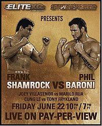 A poster or logo for Strikeforce: Shamrock vs. Baroni.