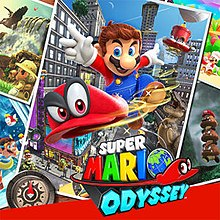 The box art shows Mario, a cartoon-like mustachioed man, jumping and throwing his anthropomorphic hat Cappy towards the viewer. Behind them is a collage consisting of screenshots from different areas from the game, including a large picture of an urban location.