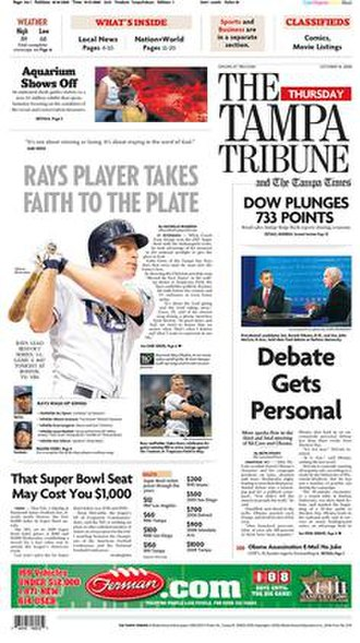 The Tampa Tribune - The October 16, 2008, front page of The Tampa Tribune