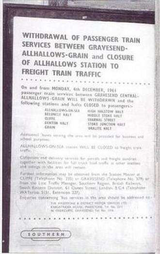 Hundred of Hoo Railway - British Rail closure notice c1961