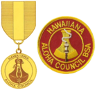 the badge is a round red patch with a gold border; the outer edge has the text Hawaiiana and Aloha Council; the inner circle has the image of a poi pounding stone with a flaming torch in front; the medal uses the same image as the badge suspended from a red and gold ribbon