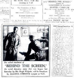 The Scoop and Behind the Screen - The billing from the Radio Times issue of June 15–21, 1930, illustrating Agatha Christie's broadcast of her chapter of Behind The Screen.