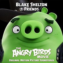 "An ""Angry Bird"" version of Blake Shelton appears, with green skin and wearing a leather jacket, with the title of the song displayed above his head."