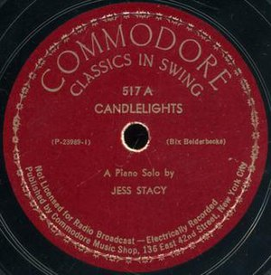 Candlelights (song) - 1939 Commodore 78 release by Jess Stacy, 517A, Classics in Swing series.