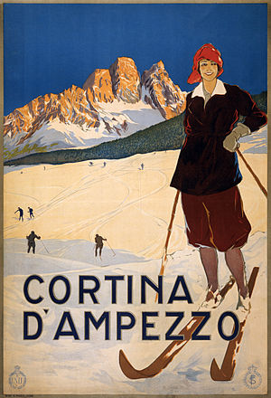 Cortina d'Ampezzo. Travel poster shows a woman...
