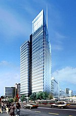 An artists impression of the proposed Croydon Tower skyscraper next to East Croydon station