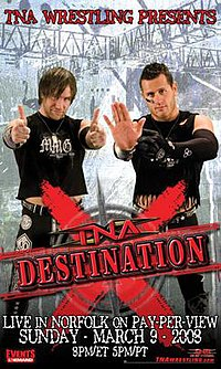 "A poster featuring two men wearing black making hand gestures with a red logo saying ""Destination X"" at the bottom of the poster."