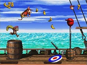 Donkey Kong Country 2: Diddy's Kong Quest - At the end of each level, the player must jump on a target pad for a chance to earn a randomised reward, such as an extra life balloon.