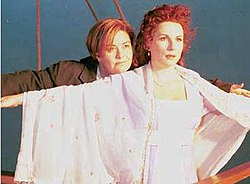 French (left) and Saunders spoofing Jack and Rose from the film, Titanic.