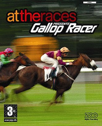 Gallop Racer - PAL Cover artwork of attheraces Presents Gallop Racer, known as Gallop Racer 2003 in the USA.
