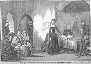 "Stephen Gardiner - ""Bishop Gardiner's Conference with Jane Grey."" - From the Victorian ""Pictorial Tower of London""."