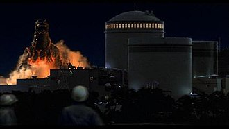 Ikata Nuclear Power Plant - Screen shot of Godzilla approaching the nuclear plant