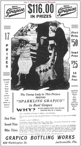 Jacksonville Journal - Florida Grapico Bottling Works advertisement in the June 1, 1922 issue of the Jacksonville Metropolis newspaper illustrating the Journal's style of ad presentation at that time.