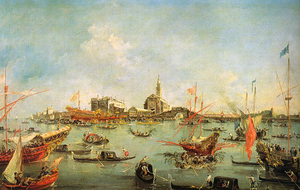 Domenico Selvo - Boaters with San Nicolò in the background on Lido on Ascension Day in the 18th century as depicted by Francesco Guardi. According to the descriptions, the election of Domenico Selvo must have looked very similar to this celebration.
