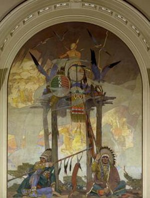Allen Tupper True - Happy Hunting Ground, 1925, mural in Colorado National Bank