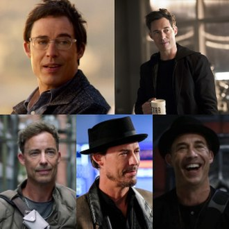 Harrison Wells - Clockwise from top left: Eobard Thawne, Harry Wells, H. R. Wells and Sherloque Wells