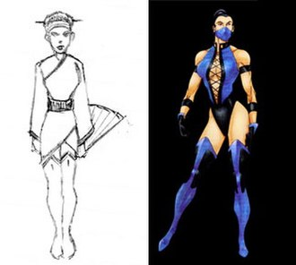 "Kitana - A comparison of John Tobias' sketch of the unused character ""Kitsune"" in then original Mortal Kombat (1992) and his concept art for Kitana in Ultimate Mortal Kombat 3"