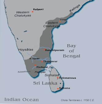 Kulothunga Chola II - Chola territories c. 1150 CE