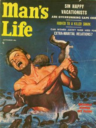 Men's adventure - September 1956 cover to Man's Life magazine