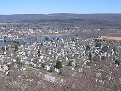 A view of Matamoras from the hills behind the town. Mid-Delaware Bridge connects it to Port Jervis, NY
