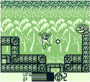 Mega Man III (Game Boy) - The game combines elements from the NES games Mega Man 3 and Mega Man 4. Shown here is Snake Man's stage.