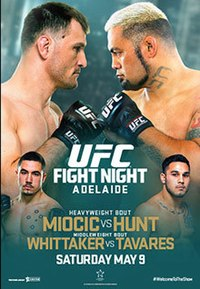 A poster or logo for UFC Fight Night: Miocic vs. Hunt.