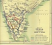 On a map of south India are shown the shifting boundaries of Mysore over time; these show it expanding from 1617 to 1704 and even more in 1782, but contracting somewhat in 1799.