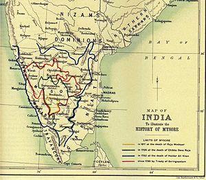 Chikka Devaraja - Map comparing the boundaries of Chikka Devaraja's realms to other boundaries of Mysore from 1617 to 1799.