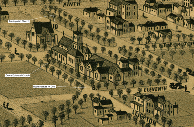 1888 drawing and positioning of the Noble Institute for Girls in Anniston NobleInstituteForGirls1888.PNG