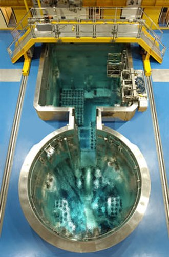Open-pool Australian lightwater reactor - The OPAL reactor pools. Made of stainless steel and 4.5 m wide, it contains demineralised water used for shielding and cooling.