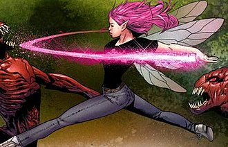 Pixie (X-Men) - Pixie using her pixie dust power. Art by Greg Land.