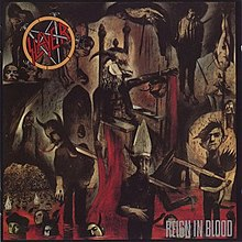 "An image of the album cover featuring a demonic creature being carried on a chair by two people on each side. These people are carrying it over a sea of blood where several heads of corpses are floating. In the top left corner of the album is Slayer's logo while in the bottom right corner is the album title ""Reign in Blood""."