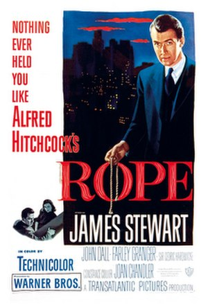 "Long take - Promotional poster for Alfred Hitchcock's Rope, a film which used long takes to create the illusion of ""real time"""