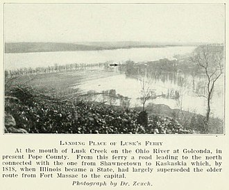 Lusk's Ferry, Illinois - Former site of Lusk's Ferry, in Golconda, Illinois in 1927