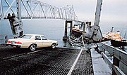 Richard Hornbuckle's Buick Apollo sits on the edge of the abyss on May 9, 1980 after the Summit Venture collided with the bridge in foul weather. Photo by St. Petersburg Times.