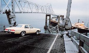 Sunshine Skyway Bridge - The collapsed original bridge on May 9, 1980, after the Summit Venture collision. Photo by St. Petersburg Times