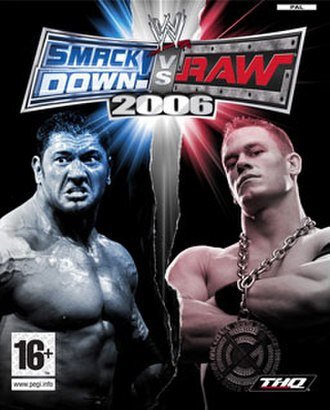 WWE SmackDown! vs. Raw 2006 - PAL cover art featuring Batista and John Cena