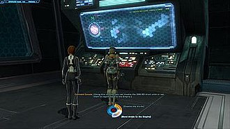 Star Wars: The Old Republic - A view of the conversation wheel with a Darkside response highlighted