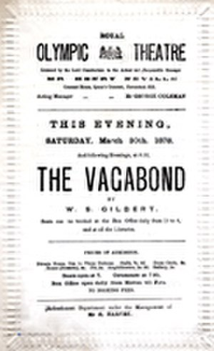The Ne'er-do-Weel - Programme for The Vagabond for 30 March 1878