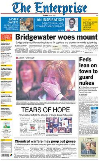 The Enterprise (Brockton) - Image: The Enterprise (Brockton) front page