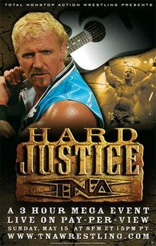 A poster featuring a white male with blond hair wearing blue holding an acoustic guitar with a brown stone logo saying Hard Justice in front of him