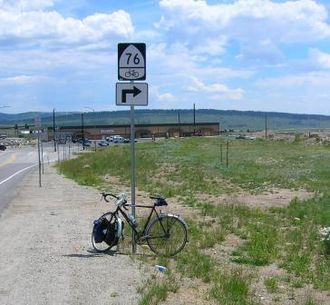 Bikecentennial - Route sign in Fairplay, CO, in 2006