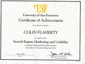 300px Usfcertificate2 Search engine marketing.......Are you striking the right chord?