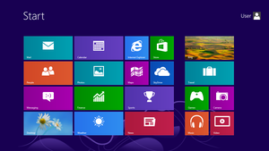 Start menu - The Start screen in Windows 8