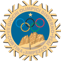 "A stylized snowflake with the Olympic rings, a star and mountains. Surrounding the perimeter of the snow flake are the words, ""VII Giochi Olimpici Dinverno, Cortina d'Ampezzo 1956"""