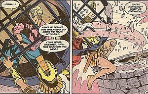 Amazons (DC Comics) - The Amazon Pythia ripping large iron bars from a stone and mortar wall to free Julia Kapatelis from imprisonment. Art by Jill Thompson.