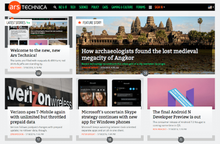 The Ars Technica logo is displayed in the top-left corner of the web page. Separated into two rows below the logo are several boxes, each of which contains an article's headline and image.