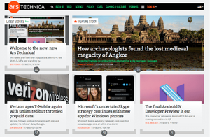 The Ars Technica logotype is displayed in the top-left corner of the web page. Positioned in two columns are the article headlines, some of which have corresponding images.