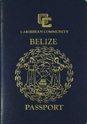 Belizean passport - The front cover of a contemporary Belizean passport.