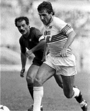 S.S. Lazio - Bruno Giordano with the Lazio jersey.